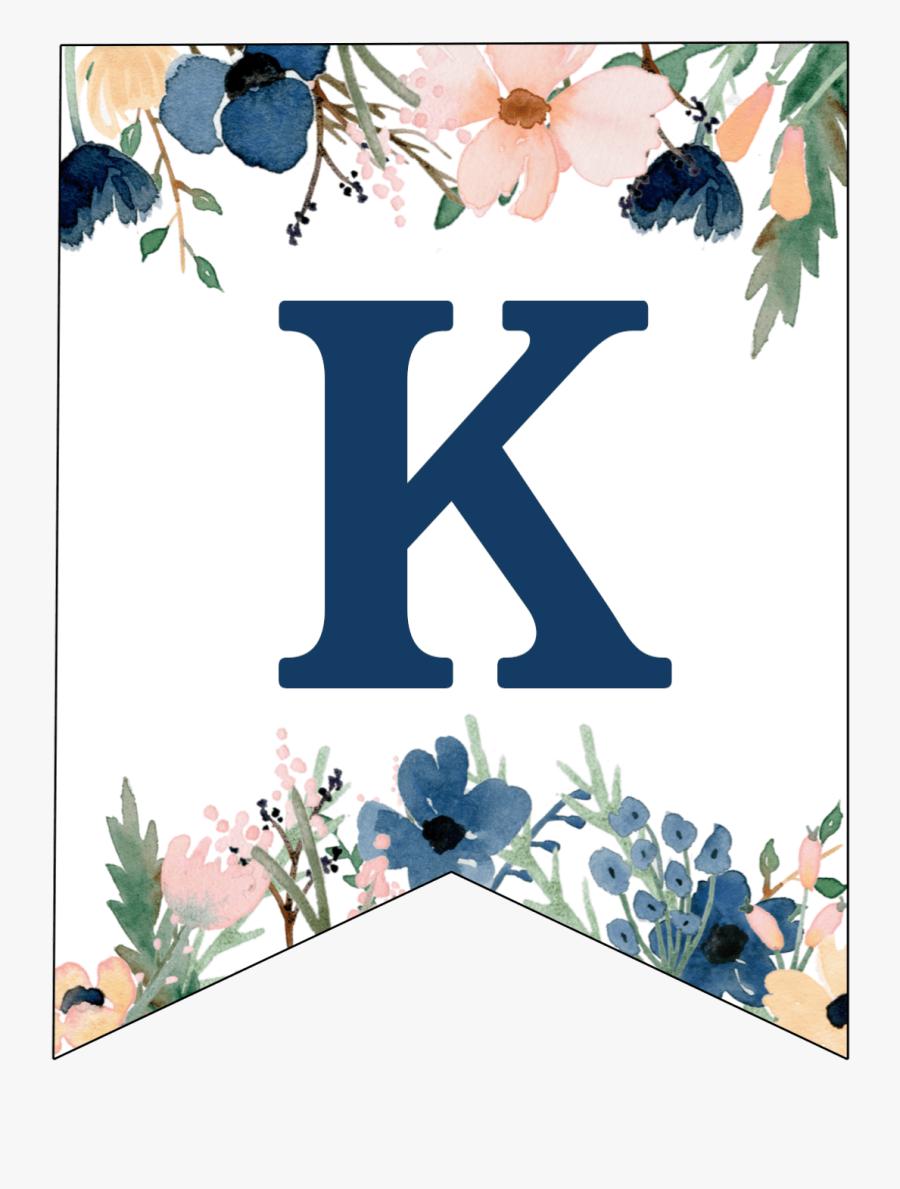 Floral Letter Banner Printable, Transparent Clipart
