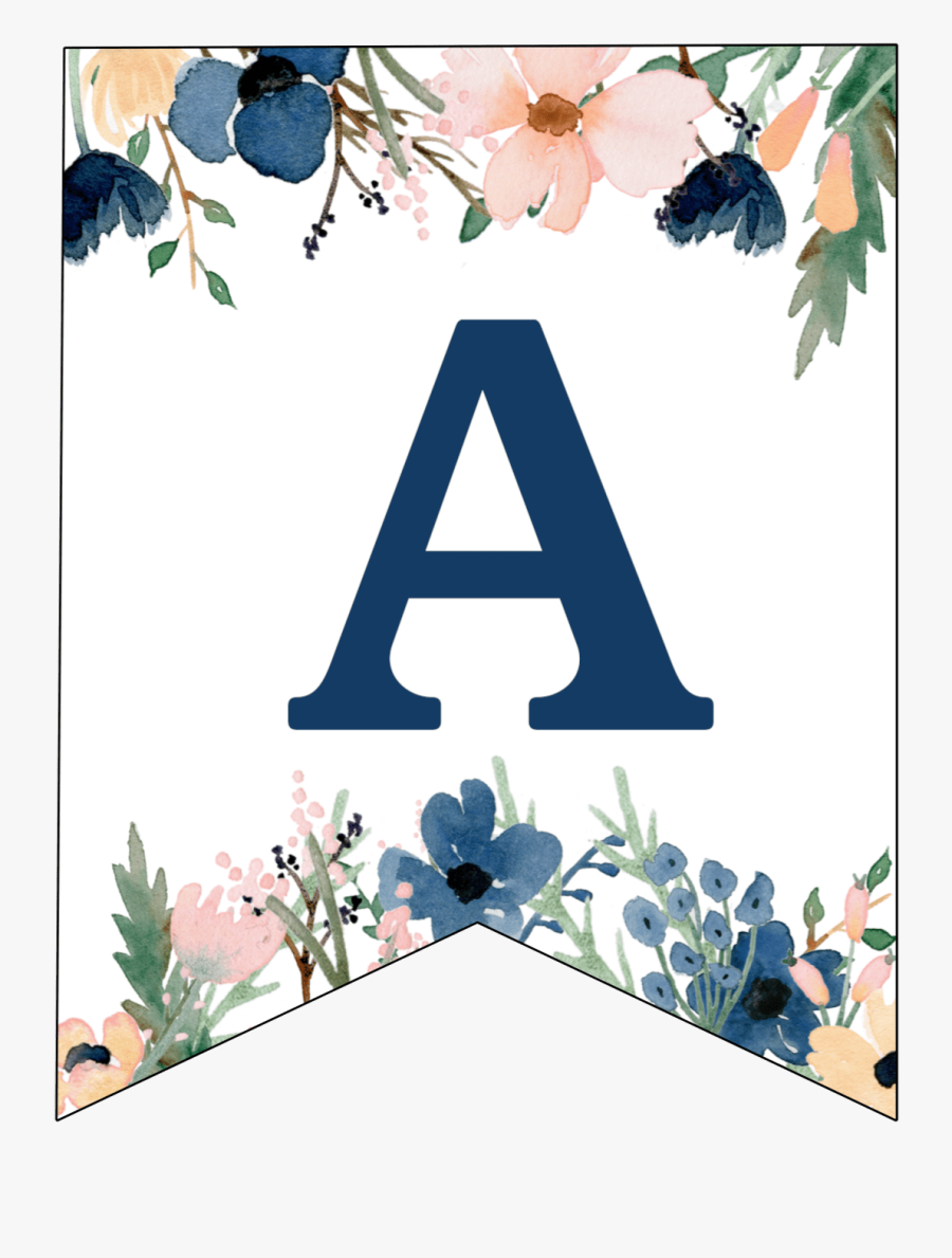 Floral Blue Alphabet Banner All Letters, Transparent Clipart