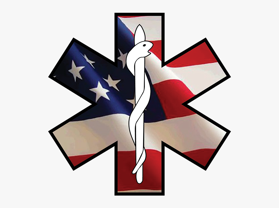 Star Of Life Emergency Ems Decal - American Flag Square, Transparent Clipart
