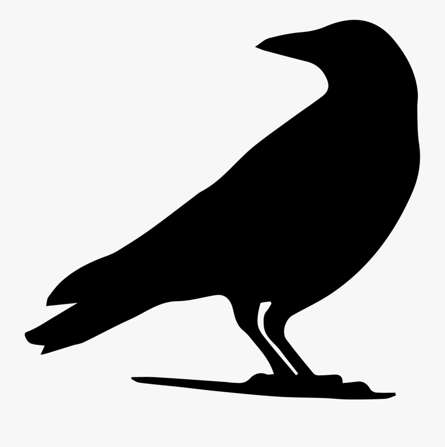 Drawing, Crow, Silhouette, Crow Like Bird, Wildlife - Crow Silhouette Png, Transparent Clipart