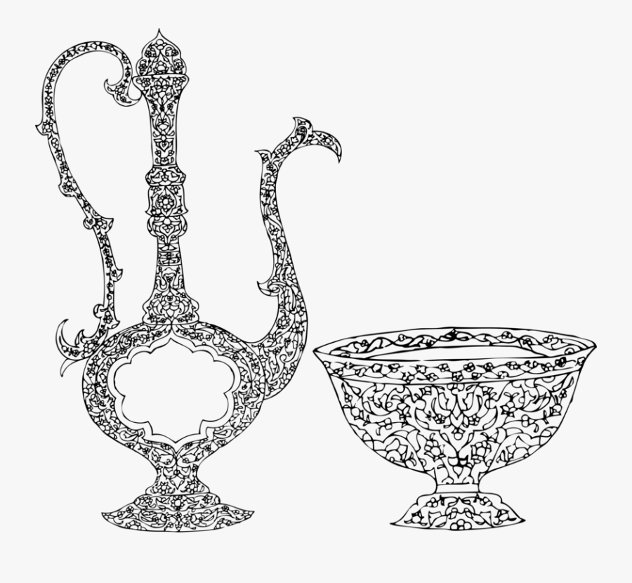 Line Art,cup,body Jewelry - Drawing Islamic, Transparent Clipart