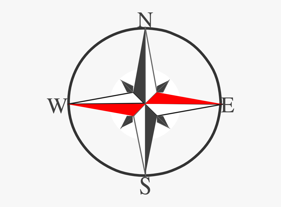 Compass Clipart Clear Background - North East West South Symbol, Transparent Clipart