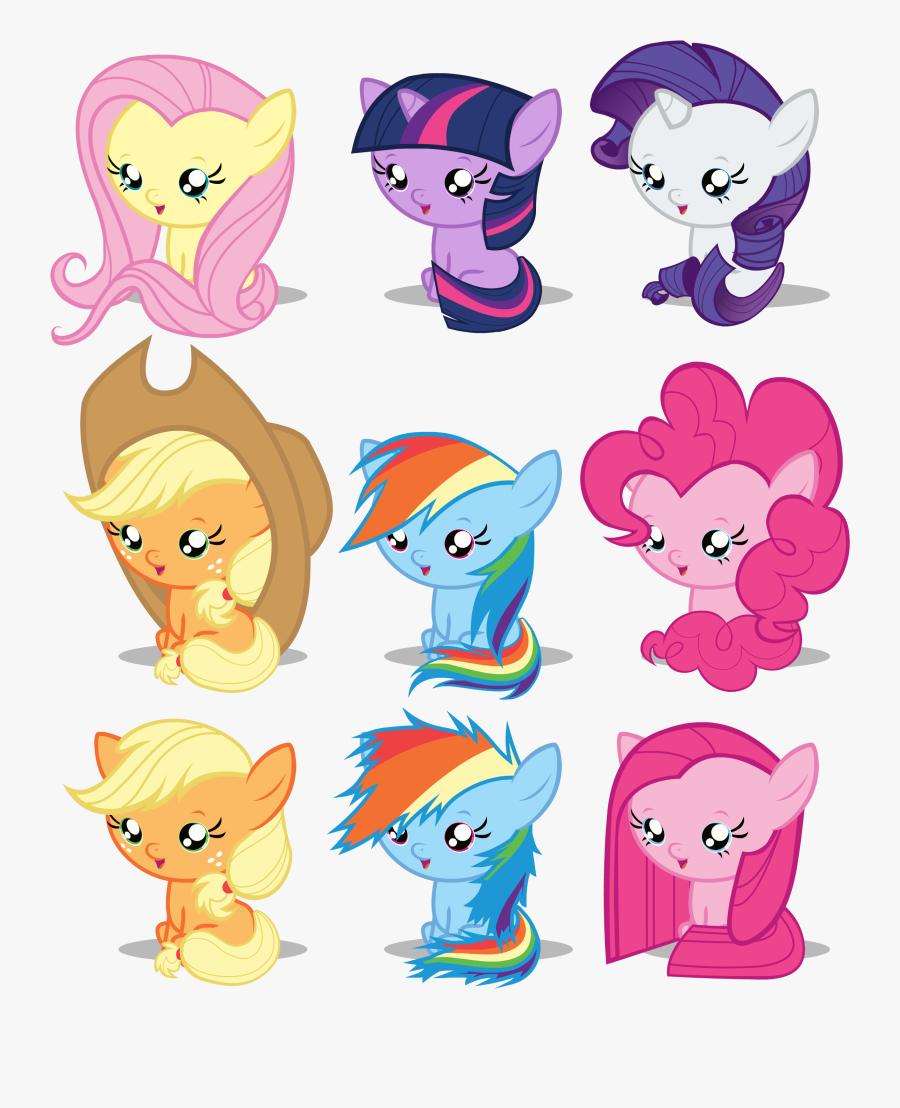 Rainbow Dash Rarity Pinkie Pie Fluttershy Applejack - My Little Ponies As Babies, Transparent Clipart