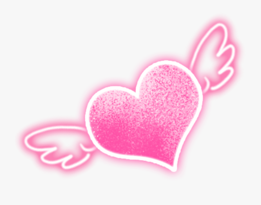 #wings #love #neon #heart #glitter #sparkling #starlight - Neon Heart With Wings, Transparent Clipart
