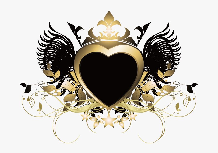 #heart #wings #crown #gold #goldandblack #swirls #decor - Portable Network Graphics, Transparent Clipart