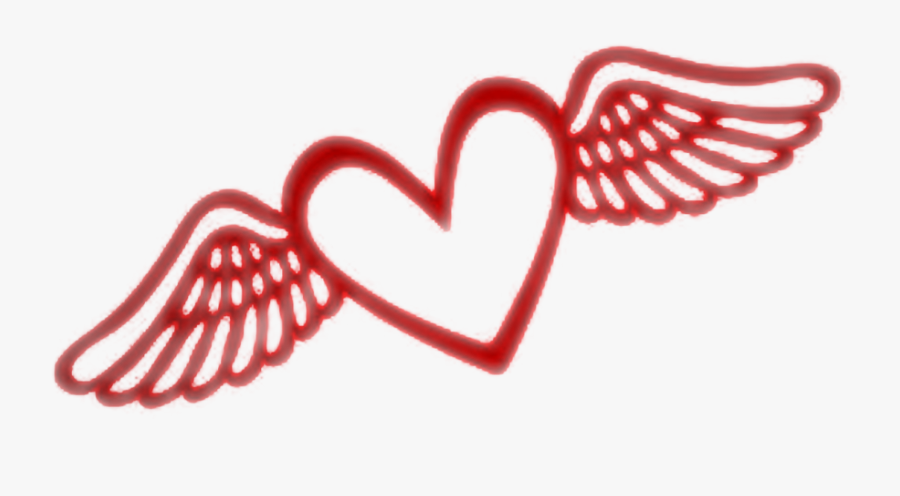 #red #wings #heart #fly - Flying Heart Clipart, Transparent Clipart