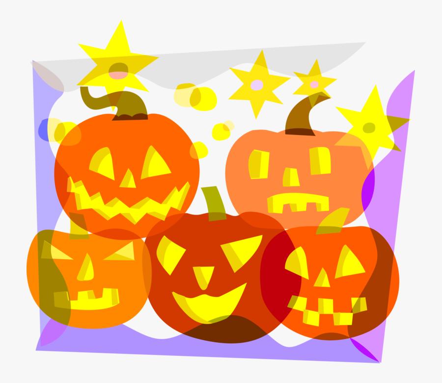 Vector Illustration Of Halloween Carved Pumpkin Jack - Jack-o'-lantern, Transparent Clipart