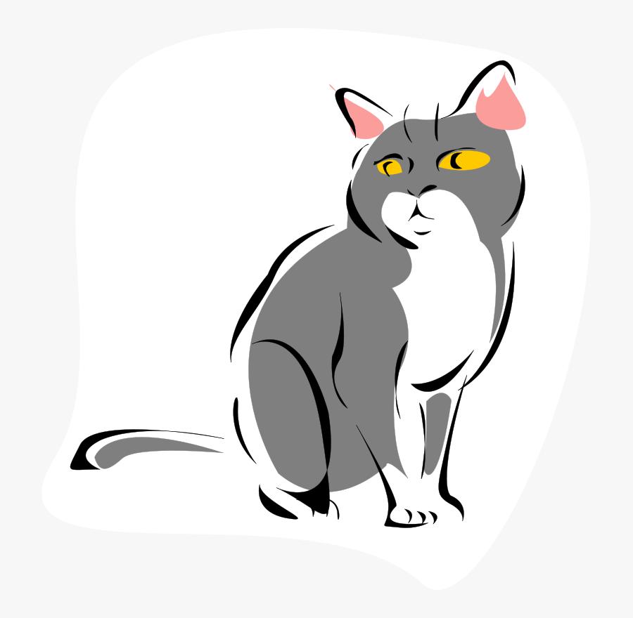 Grey Cat - Cat Cartoon Gif Png, Transparent Clipart