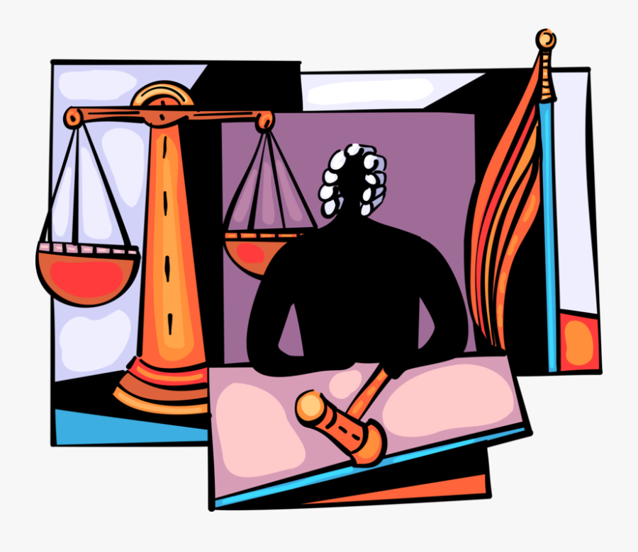 Vector Illustration Of Judicial Judge In Court Of Law - Scales Of Justice, Transparent Clipart