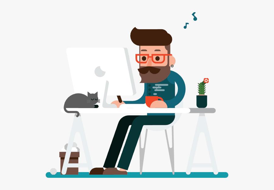 Cartoon Of Hipster Web Designer Working Alone Cartoon Free Transparent Clipart Clipartkey