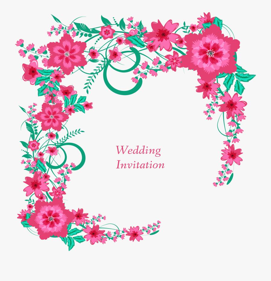 Transparent Bridal Shower Flower Clipart - Border Png Floral Design For Invitation, Transparent Clipart