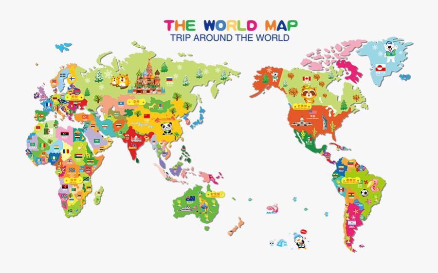 Clip Art Creative Cartoon Kindergarten Children - World Map Wall Sticker For Kids, Transparent Clipart