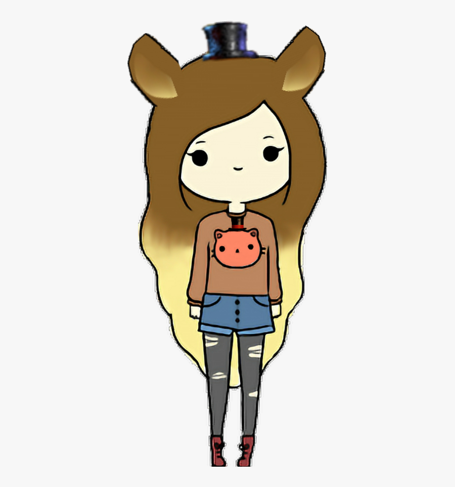 Girlfreddy Fnafhs Girl Freddy And Could Someone Tell - Easy Drawings Of A Girl, Transparent Clipart