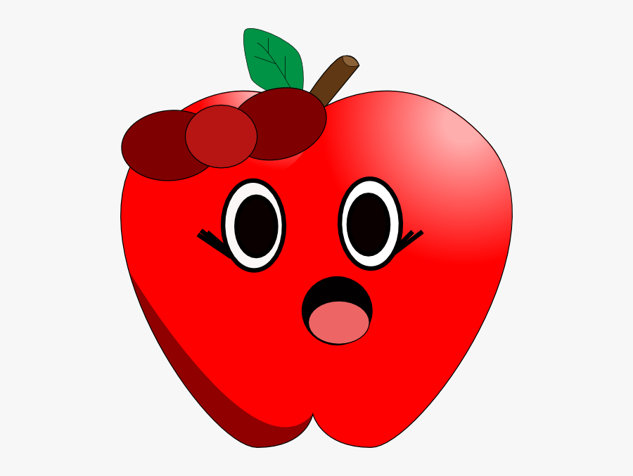 Apple With Eyes And Mouth, Transparent Clipart