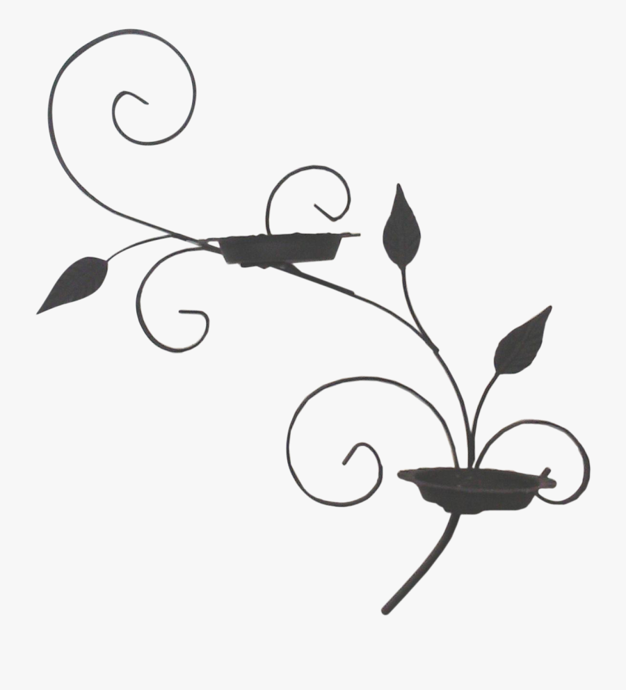 Salterini-style Iron Wall Planter In A Scrolled Design, Transparent Clipart