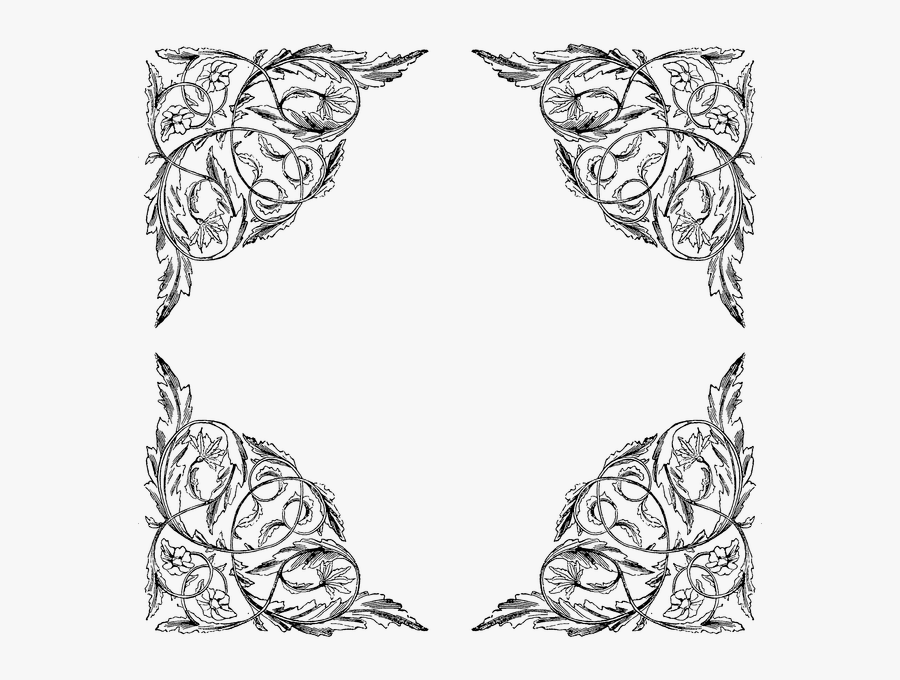 Banner Black And White Download Frames And Borders - Corner Victorian Lace Border, Transparent Clipart