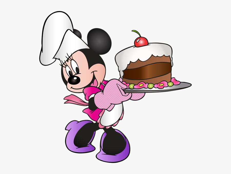 Minnie Mouse Holding Birthday Cake, Transparent Clipart
