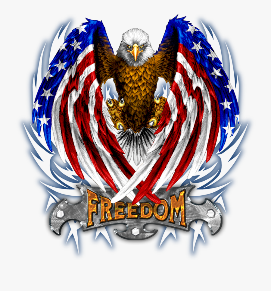 Eagle With American Flag Wings - American Flag Eagle Tattoo Black And White, Transparent Clipart