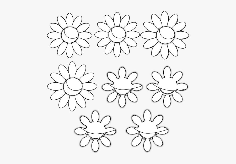 Eight Flowers Flora 34 Black White Line Art Coloring - Eight Flowers Clipart Black And White, Transparent Clipart