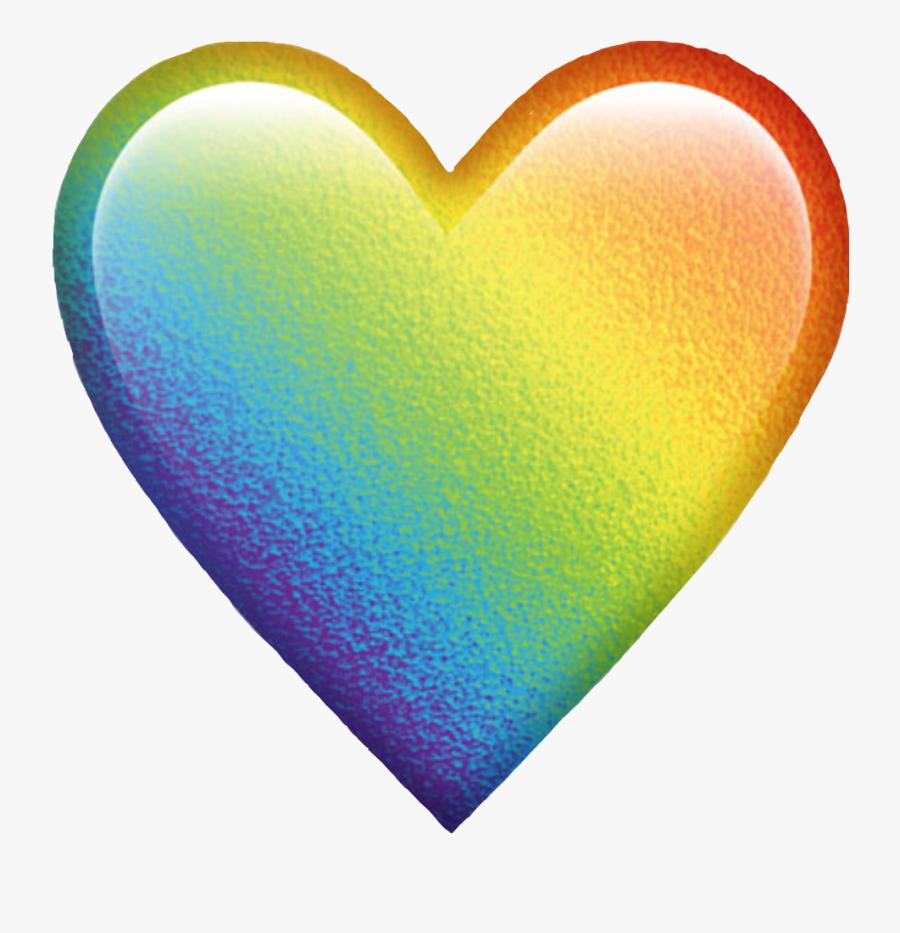 #rainbowheart #rainbow #heart #trend #freetoedit - Rainbow Heart Emoji Transparent, Transparent Clipart