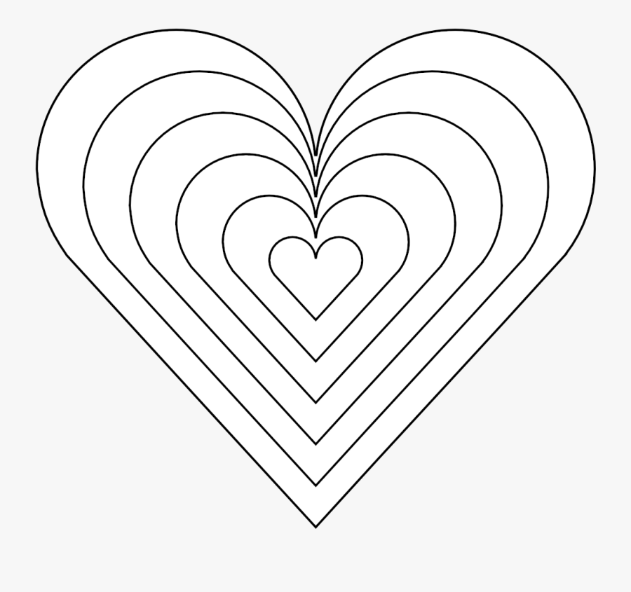 6 Heart 13 4136262 Coloring Book Colouring Sheet Page - Rainbow Heart Coloring Page, Transparent Clipart