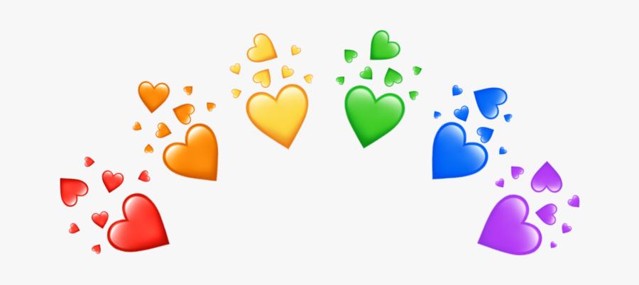 #rainbow #heart #crown #rainbowheart #heartcrown #rainbowheartcrown - Aesthetic Heart Crown Transparent, Transparent Clipart