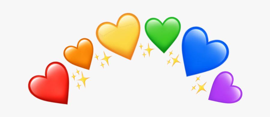 #crown #heartcrown #pride #rainbow #rainbowheart #glitter - Rainbow Heart Crown Png, Transparent Clipart