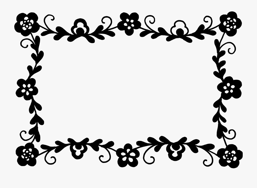 Clip Art Rectangle Flower Vector - Flower Frame Vector Black And White, Transparent Clipart