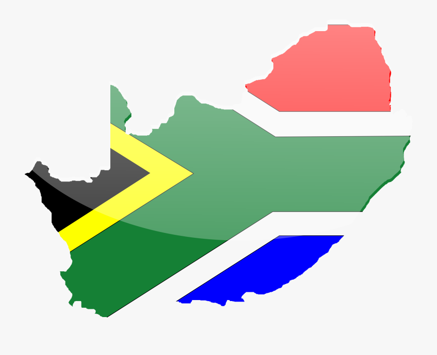 Angle,area,yellow - South Africa Flag Map, Transparent Clipart
