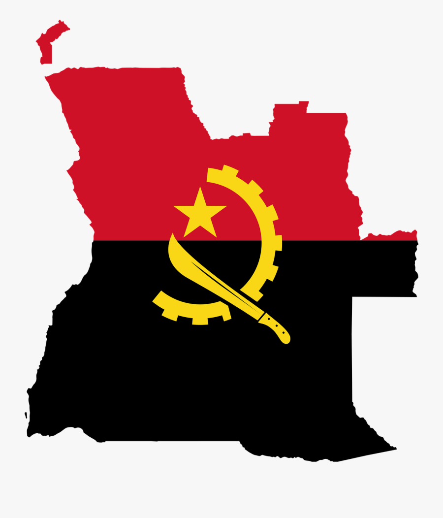 Angola, Flag, Map, Geography, Outline, Africa, Country - Angola Map With Flag, Transparent Clipart