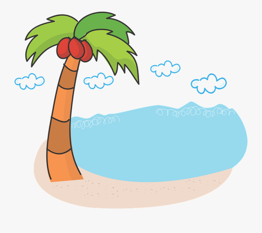 Image Result For Lake With Palm Trees Cartoon Black - Clip Art Palm Tree Beach, Transparent Clipart
