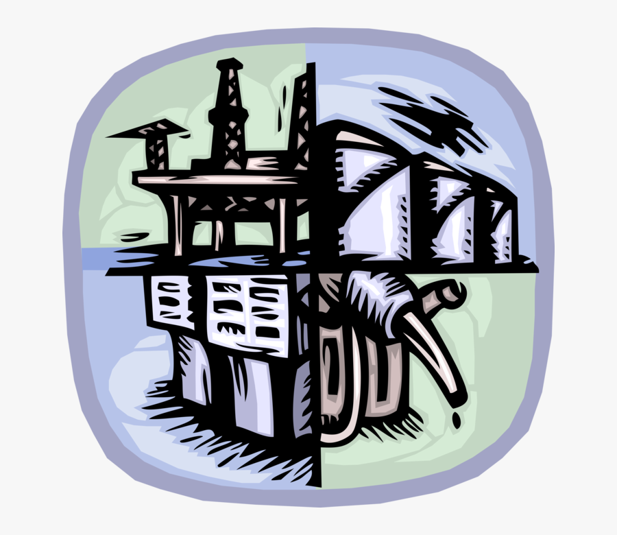 Vector Illustration Of Fossil Fuel Gas And Petroleum - Illustration, Transparent Clipart