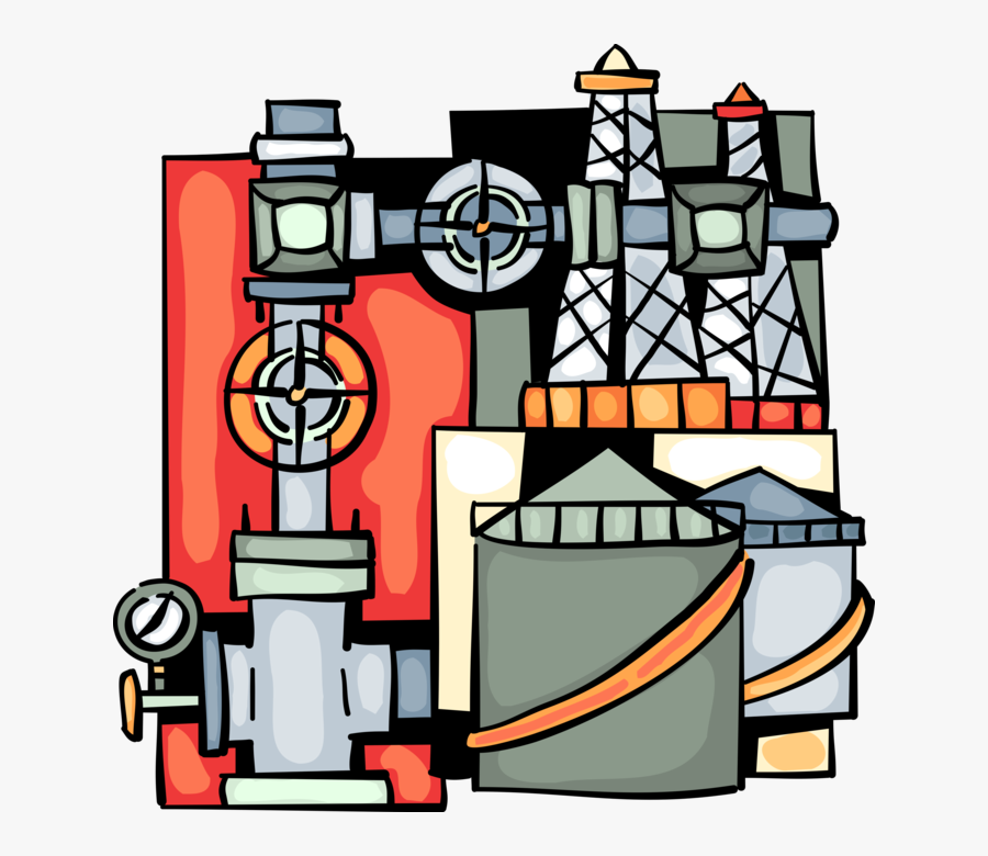 Vector Illustration Of Fossil Fuel Oil And Gas Industry, Transparent Clipart