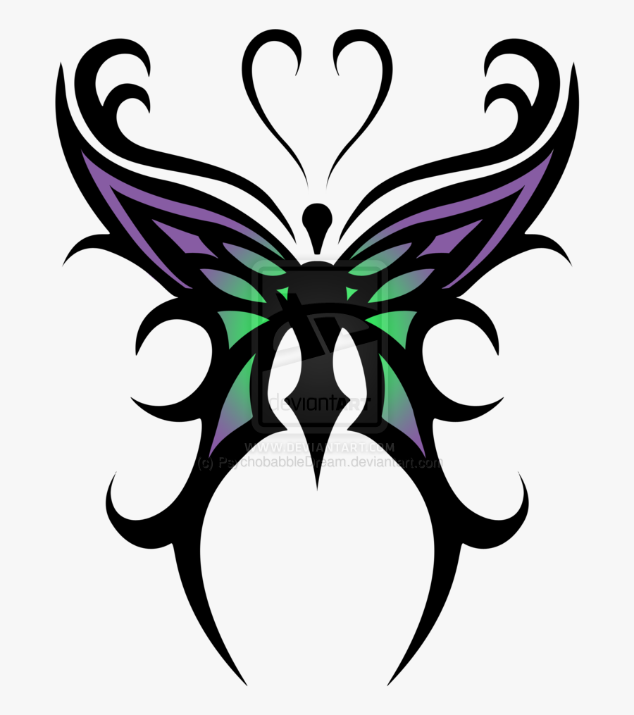 Picture Library Library Butterfly Cross Tattoos Google - Tribal Butterfly Tattoo Designs, Transparent Clipart