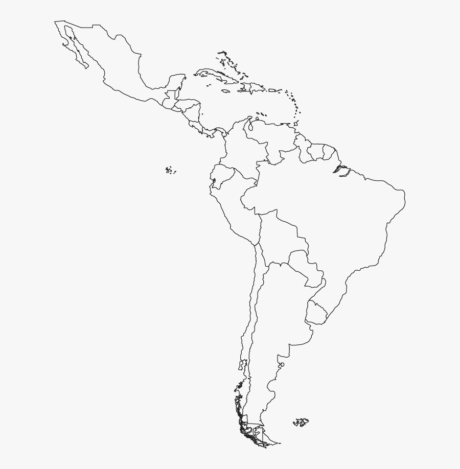 Map Latin Central Blank America South Clipart - Blank Map Of Central And South America, Transparent Clipart