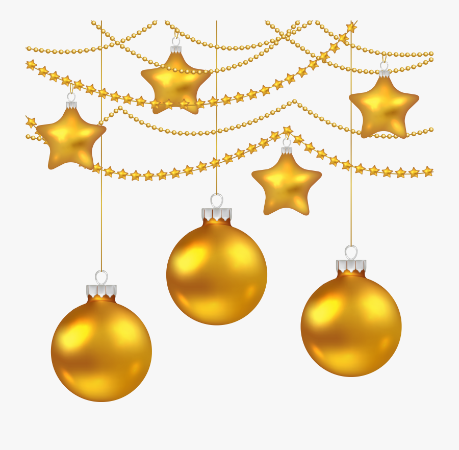 Yellow Christmas Balls Decoration Png Clipart Image - Christmas Decoration Drawing, Transparent Clipart