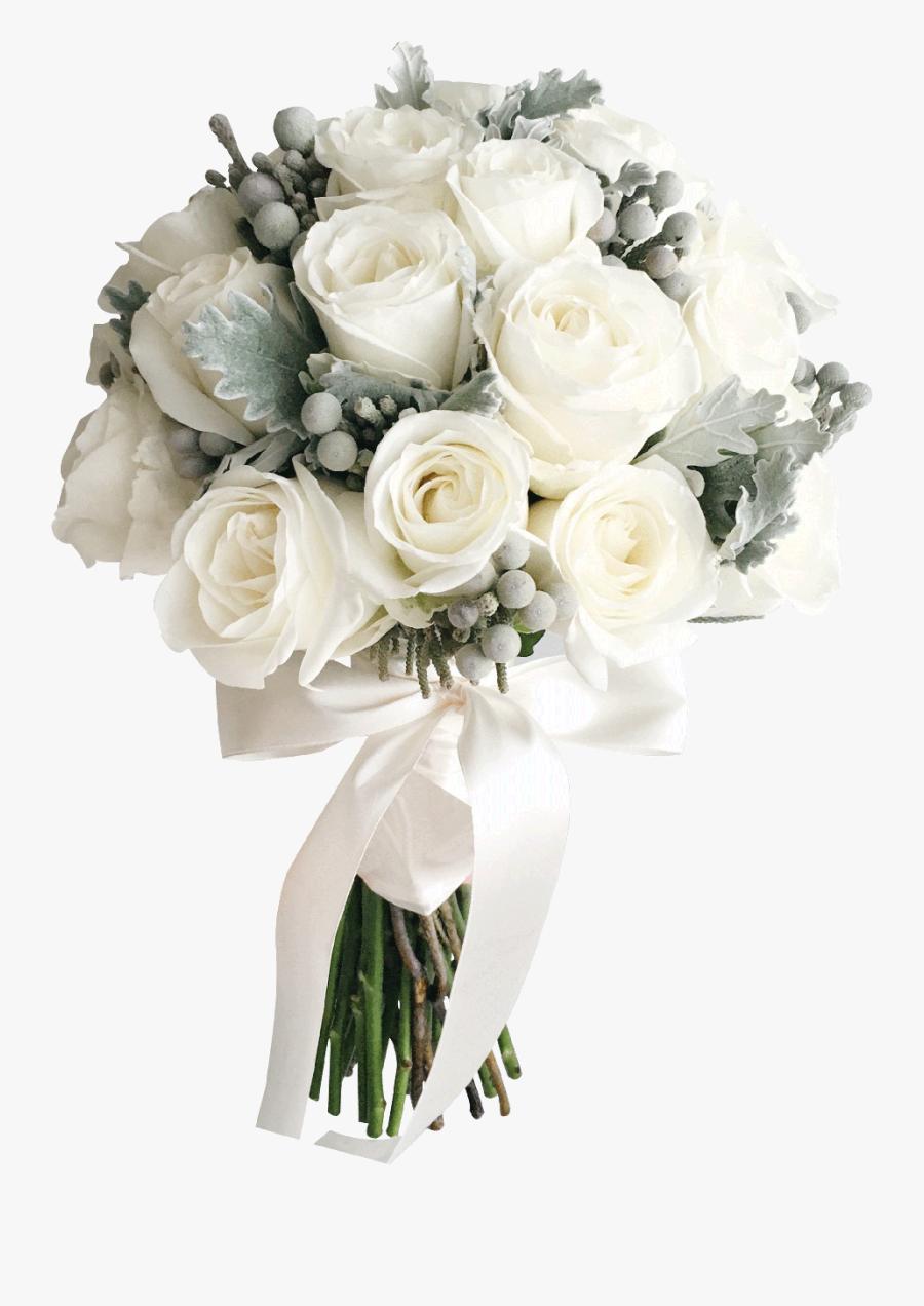 Clip Art Cotton Wedding Bouquet - Wedding White Roses Bouquet Transparent, Transparent Clipart