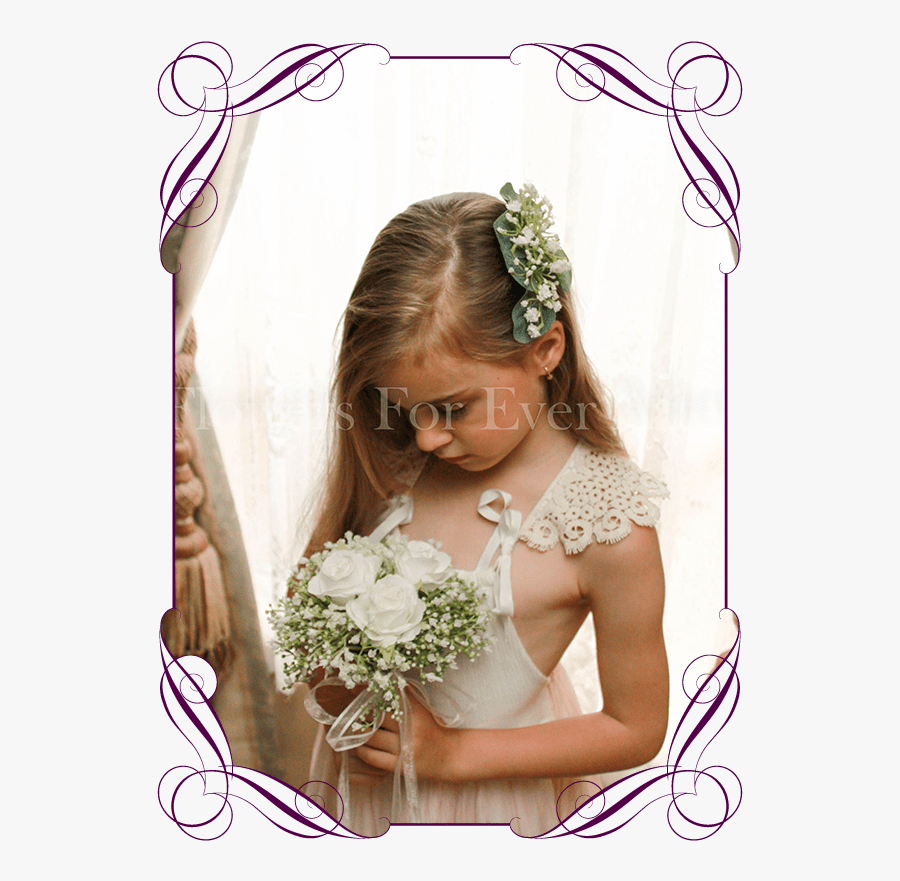 Andrea White Flower Girl Posy Flowers For Ever After - Bouquet For Orchid Flower Girl, Transparent Clipart