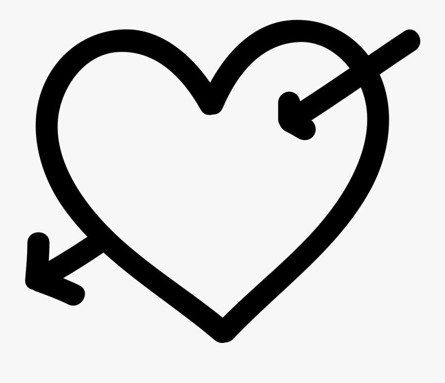 Heart With Cupid Arrow Hand Drawn Symbol Comments - Love Hand Sign Drawn, Transparent Clipart