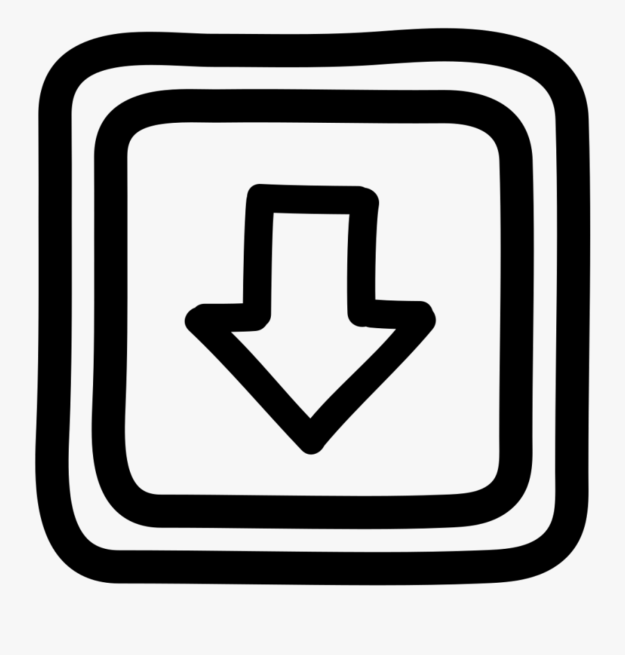 Down Button Hand Drawn Arrow And Squares Outlines - Icon, Transparent Clipart