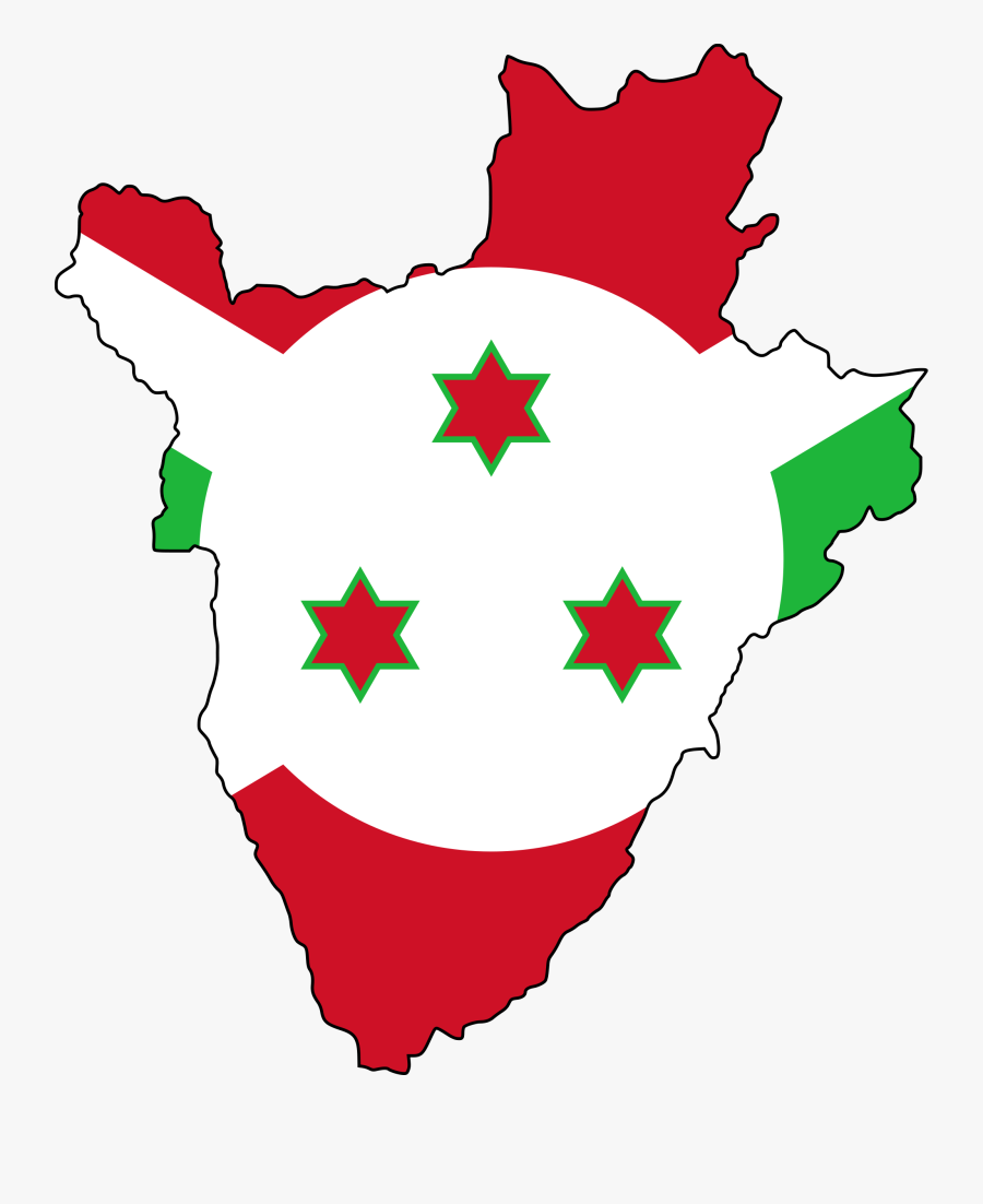 Transparent Great Lakes Clipart - Burundi Map And Flag, Transparent Clipart