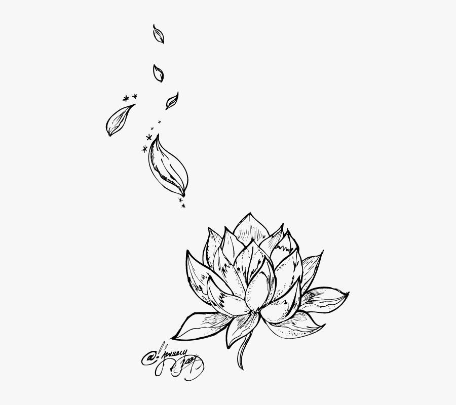 Tattoo Flower Nelumbo Nucifera Lotus Egyptian Drawing - Rose Petals Tattoo Designs, Transparent Clipart