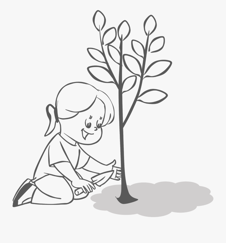 Planting Trees Clipart - People Planting Trees Drawing, Transparent Clipart