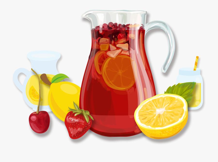 Sangria Juice Cocktail Fizzy Drinks Non-alcoholic Mixed - Sangria Illustration, Transparent Clipart