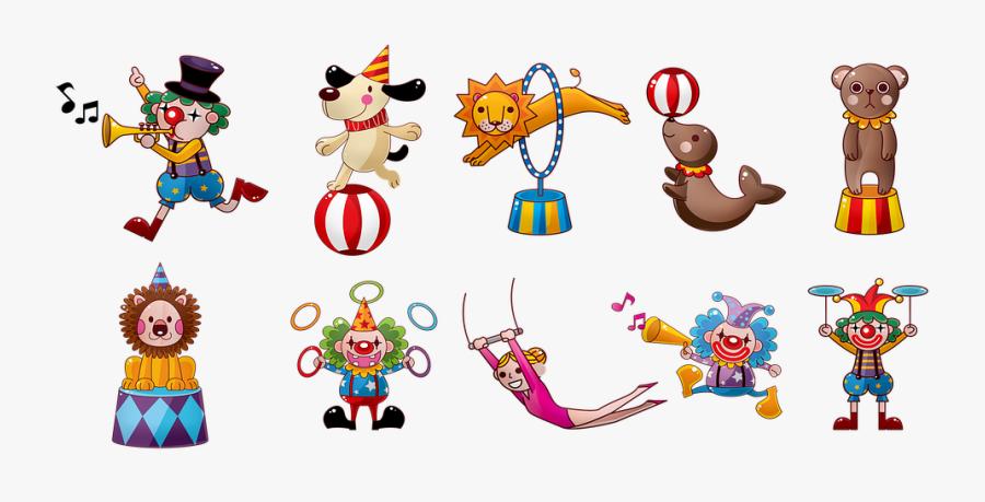 Circus, Clowns, Carnival, Fair, Fun, Amusement, Laugh - Characters Of The Circus, Transparent Clipart