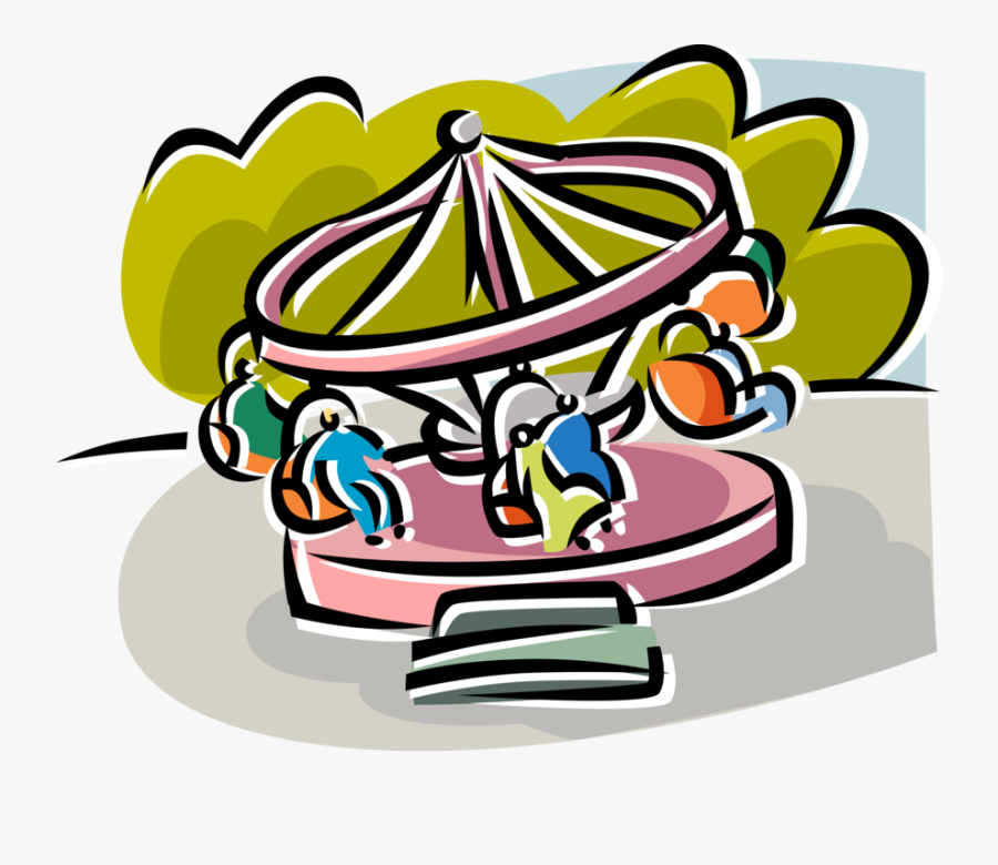 Vector Illustration Of Carnival Or Amusement Park Fairground - Angular Displacement Carousel, Transparent Clipart