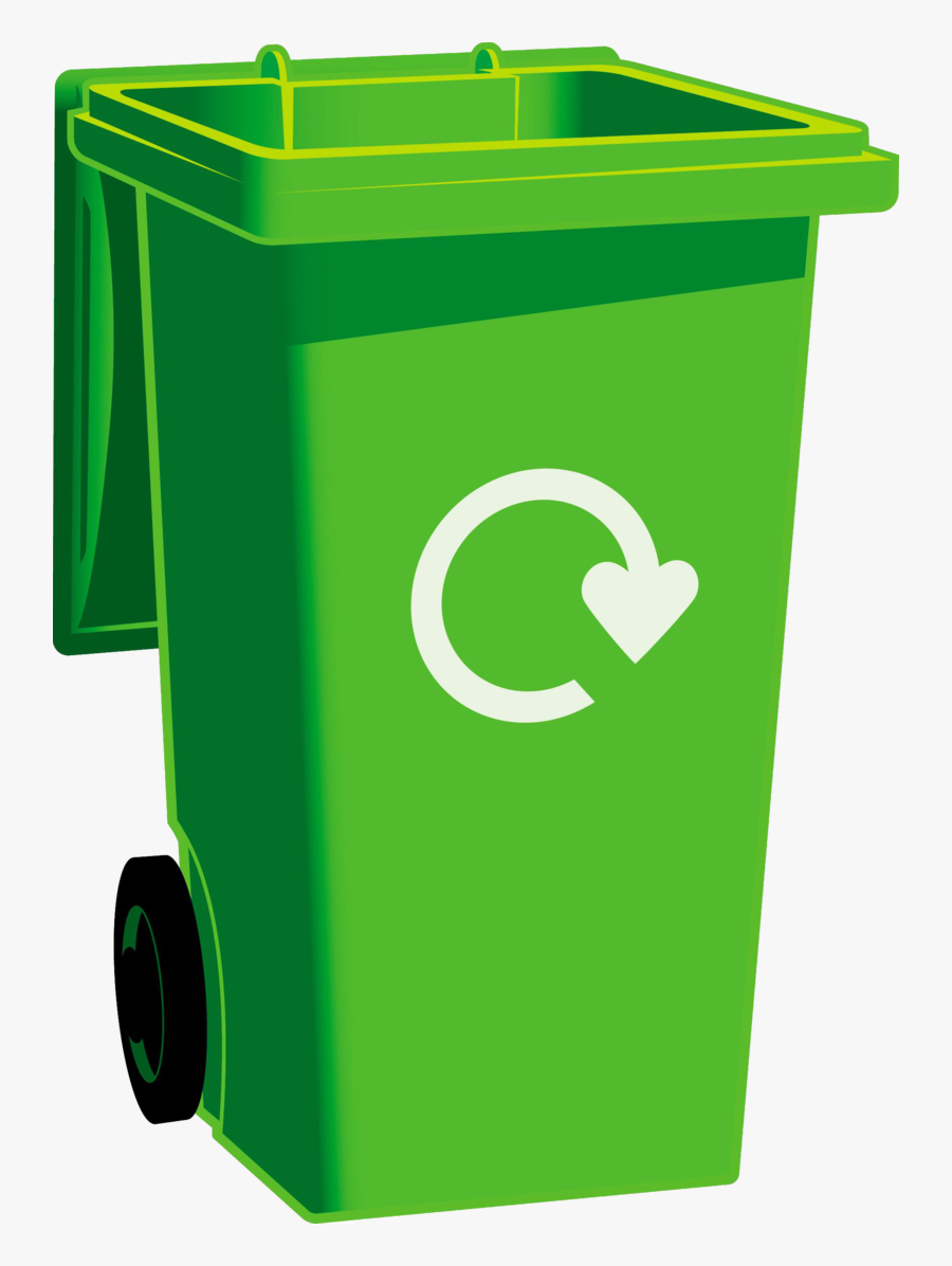 Green Recycle Bin Png, Transparent Clipart