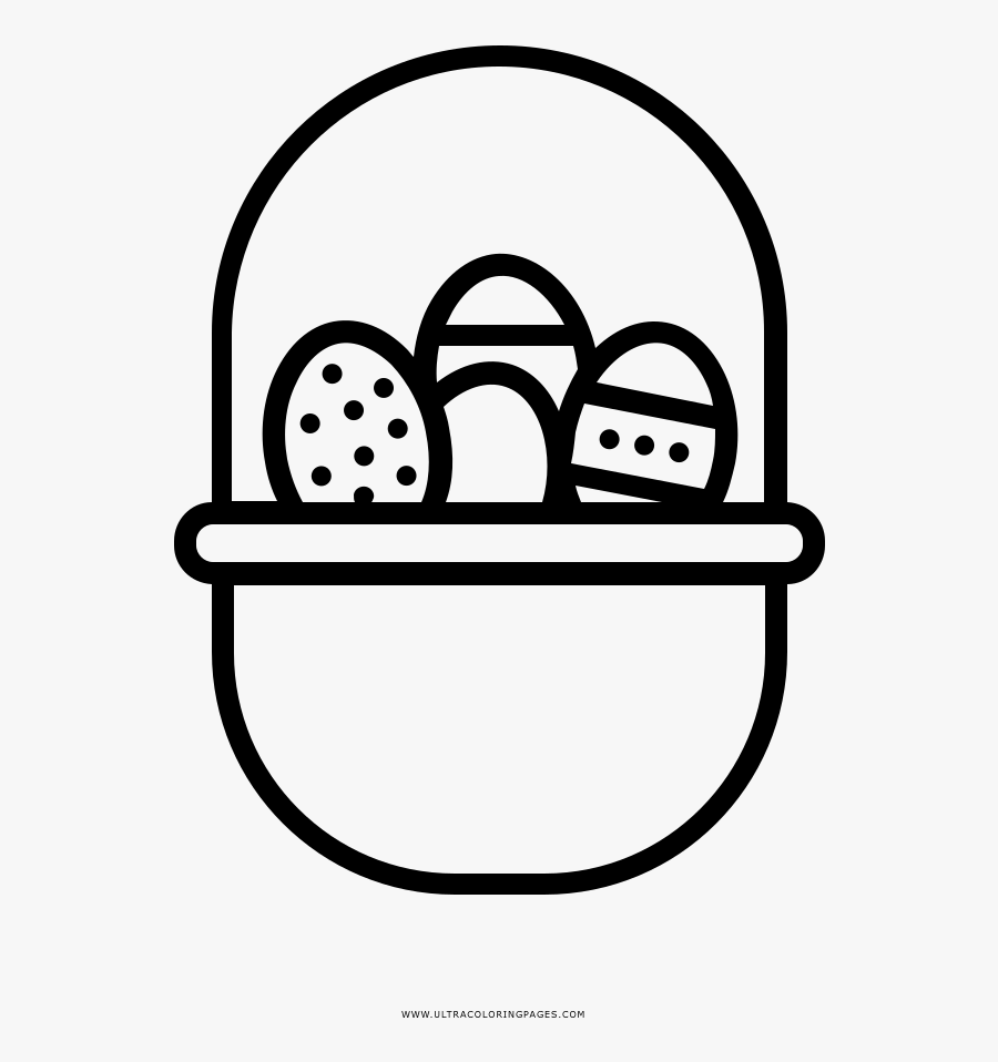 Easter Egg Basket Coloring Page - Food And Grocery Icon, Transparent Clipart