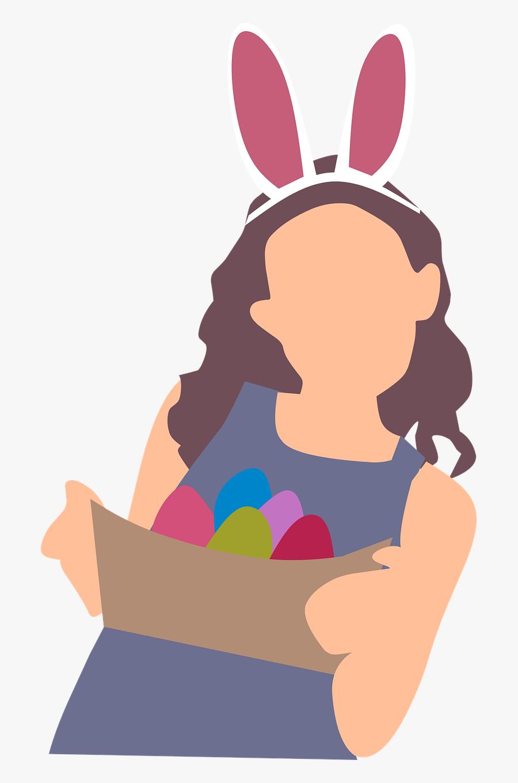 Girl Egg Basket Free Picture - Easter Bunny Girl Transparent, Transparent Clipart