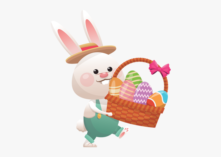 Clip Art Easter Bunny Vector - Happy Easter Basket, Transparent Clipart